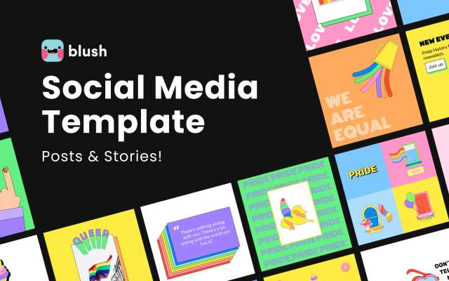 🌈 Pride Social Media Templates with Illustrations