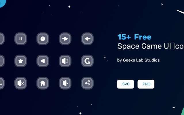15+ Free Space Game UI Icons figma
