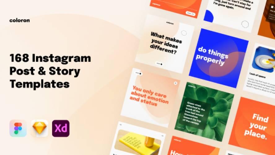 168 Creative Instagram Post & Storie Figma Templates