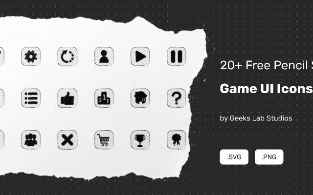 20+ Free Pencil Style Game UI Icons figma