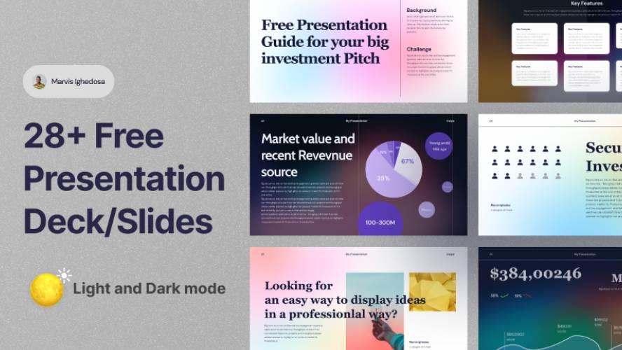 28+ Free Presentation Deck/Slides Figma Template