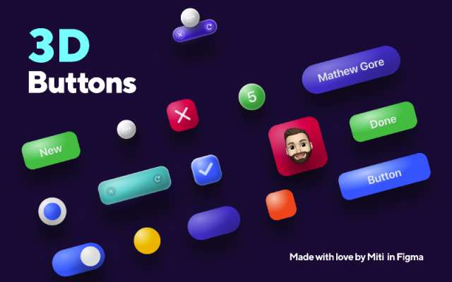 3D Buttons Figma Free