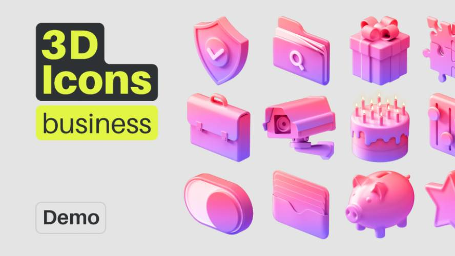 3D Icons Pack - Business (Figma template)