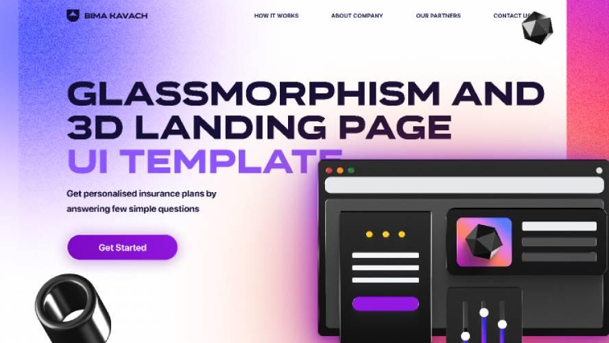 3D Landing Hero Glassmorphism  - UI Template