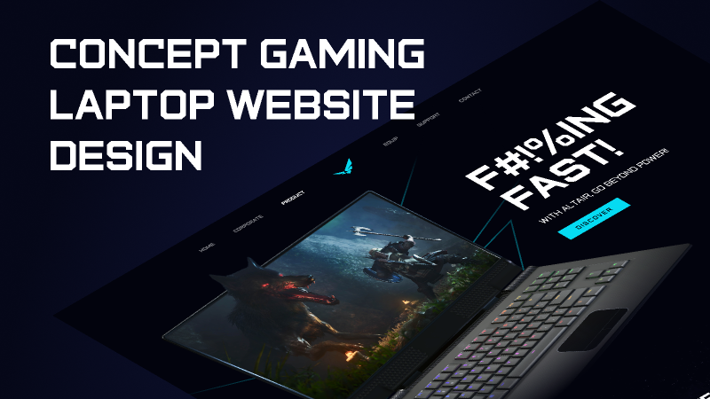 Altair - Concept Gaming Laptop Landing Page Design figma