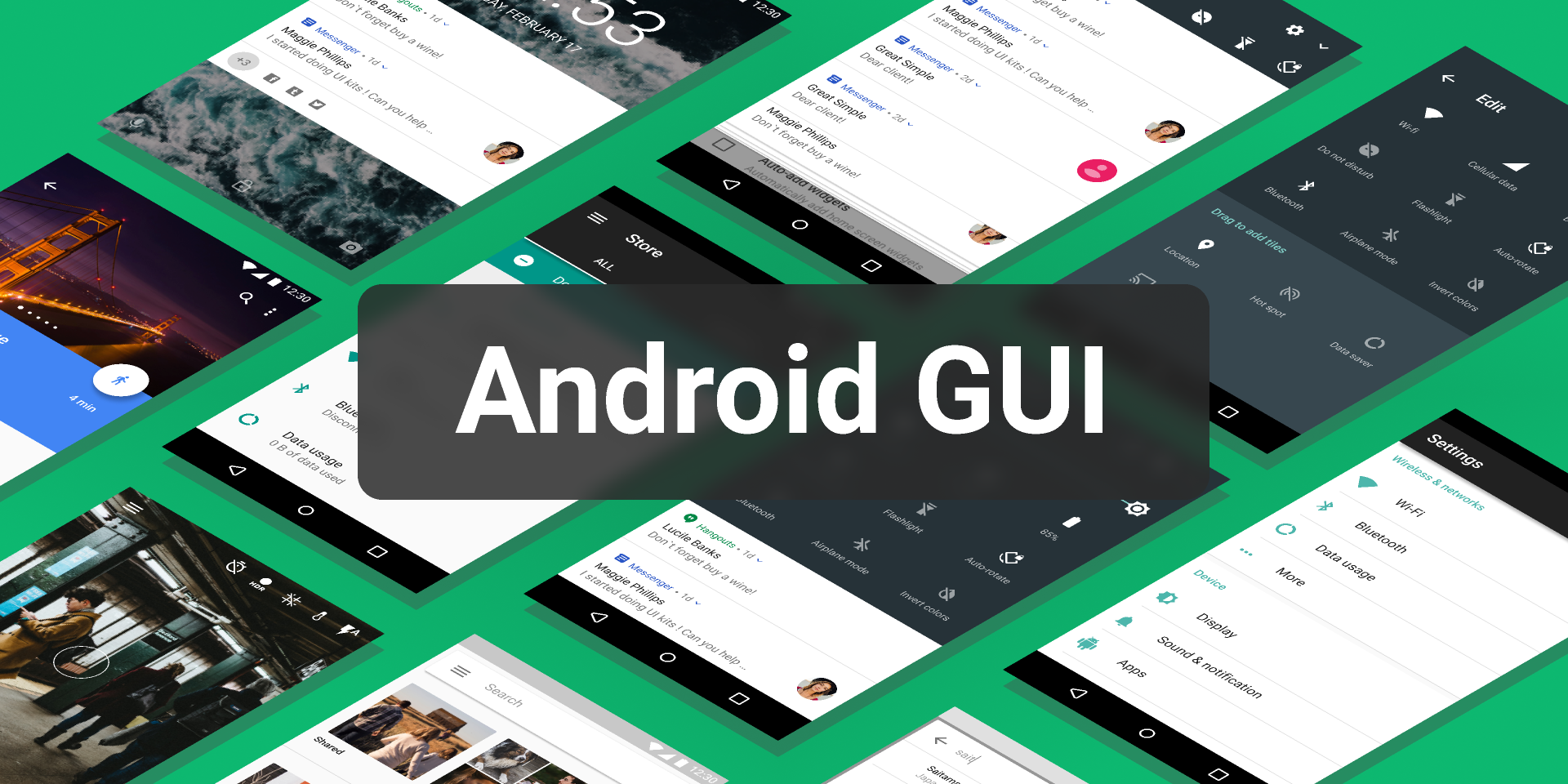 Android Nougat GUI (Figma template free)