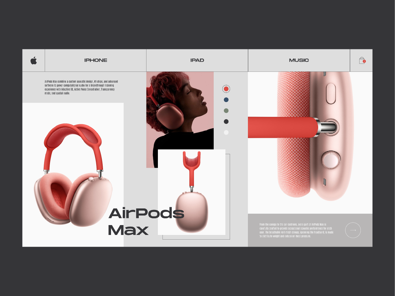 Apple AirPods Max - Product card concept design figma free