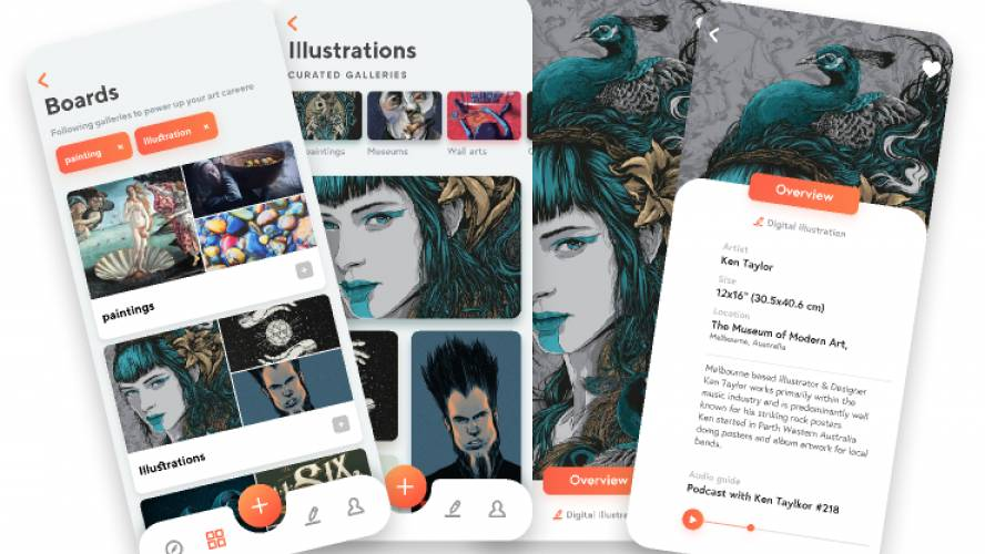 Art gallery app UI Figma Free