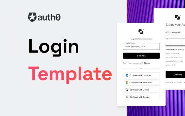 Auth0 Login, Account Creation Template Figma Design