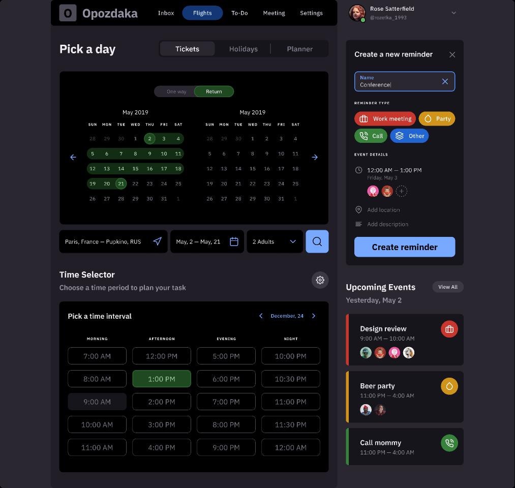 Calendar Template Dashboard UI kit