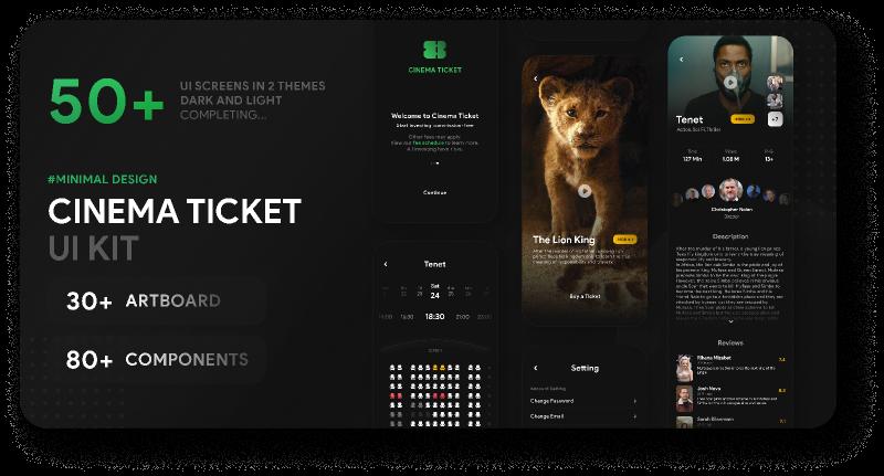Cinema Ticket UI Kit Figma