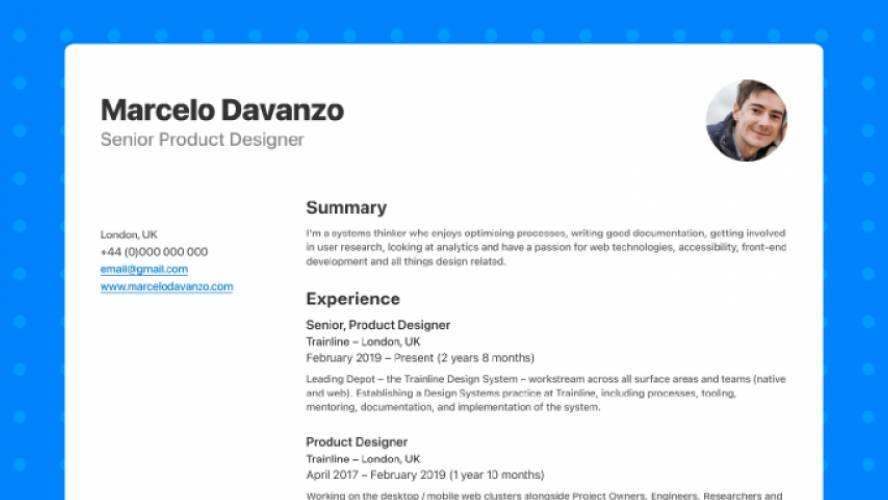 CV / Resume Template Figma Free