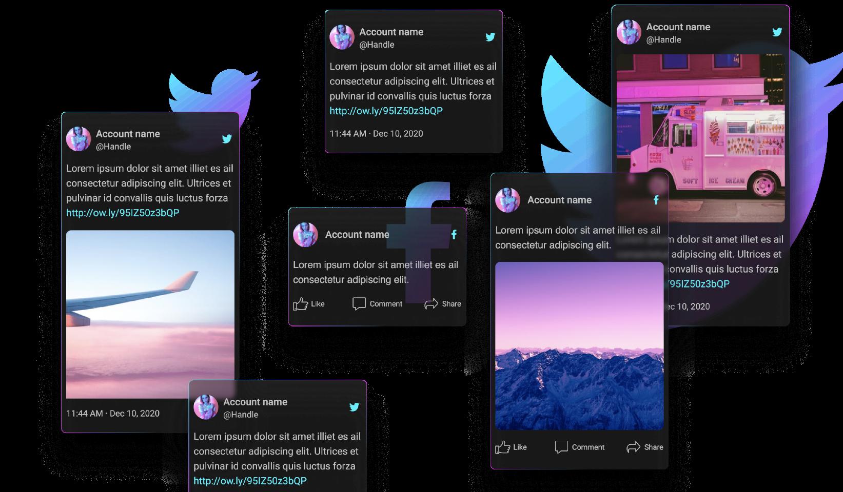 Dark mode social media posts figma free