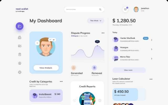 Digital Wallet Dashboard figma template