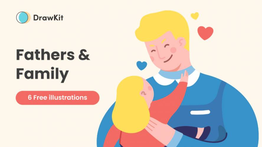 [Drawkit] Free Fathers and family illustrations Figma Template