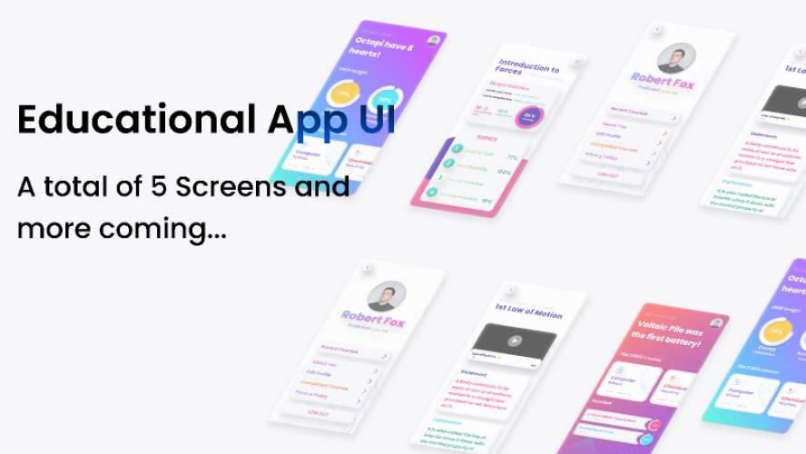 Educational App UI figma mobile app