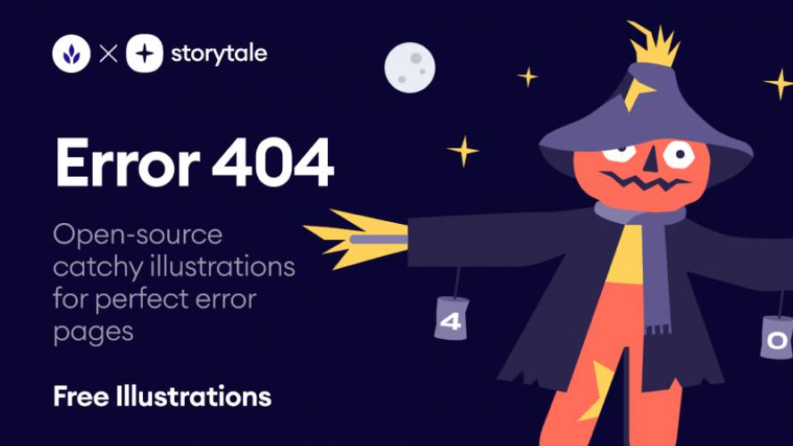 Error 404 Page Halloween Illustrations