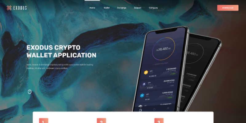 Exodus Crypto Wallet Landing Page Freebie