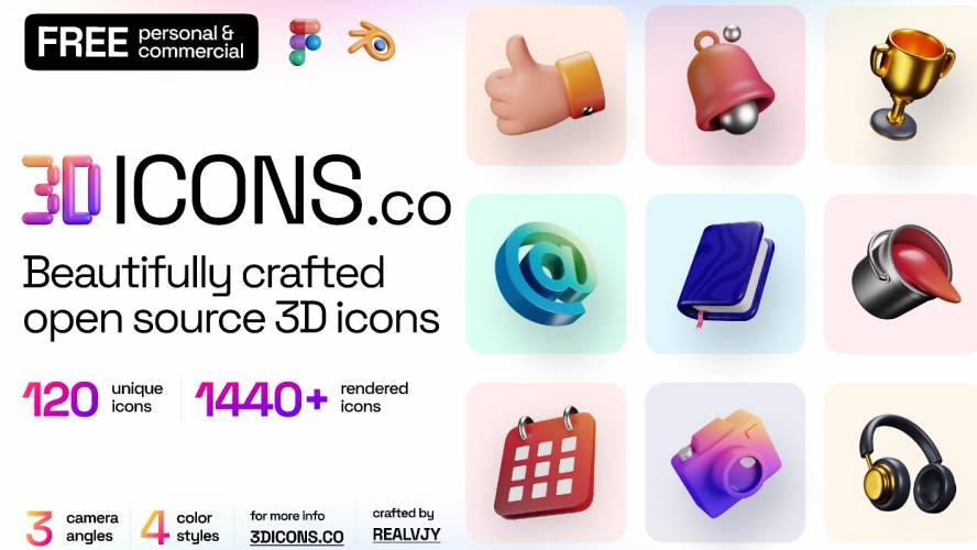 Figma 3dicons - Open source 3D icon library