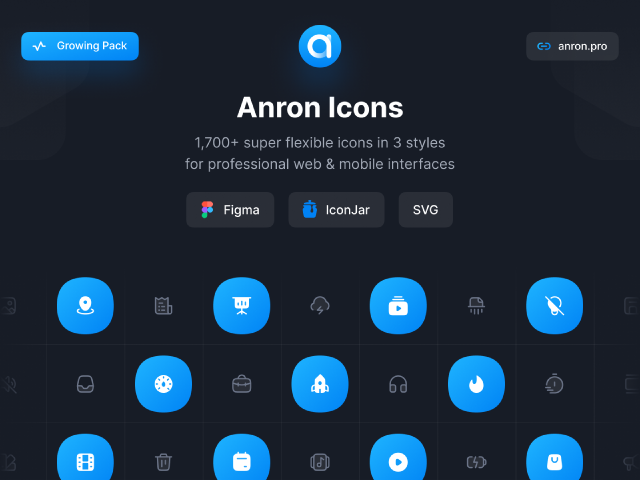 Figma Anron Icons | Line, Filled, Duotone template
