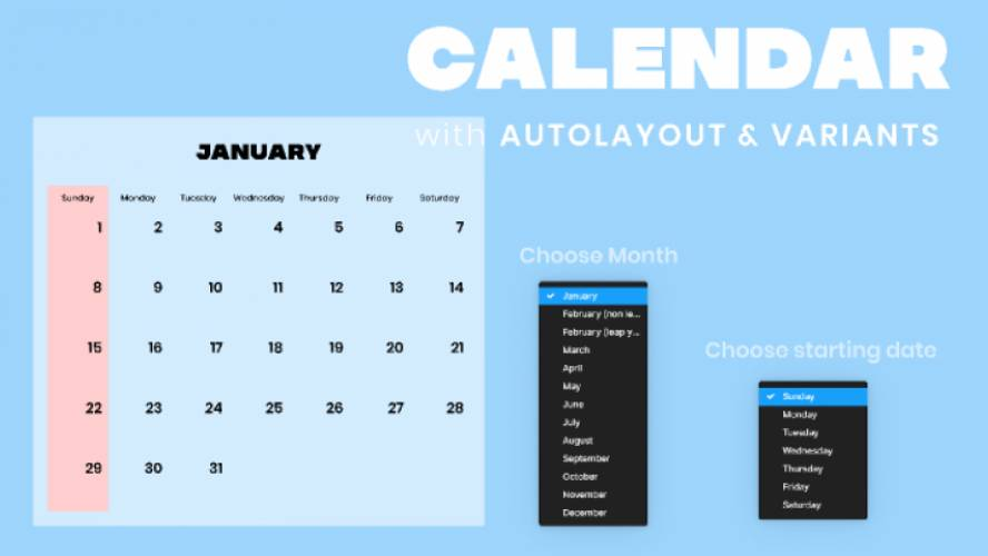 Figma Calendar 2022 with Auto Layout and Variants