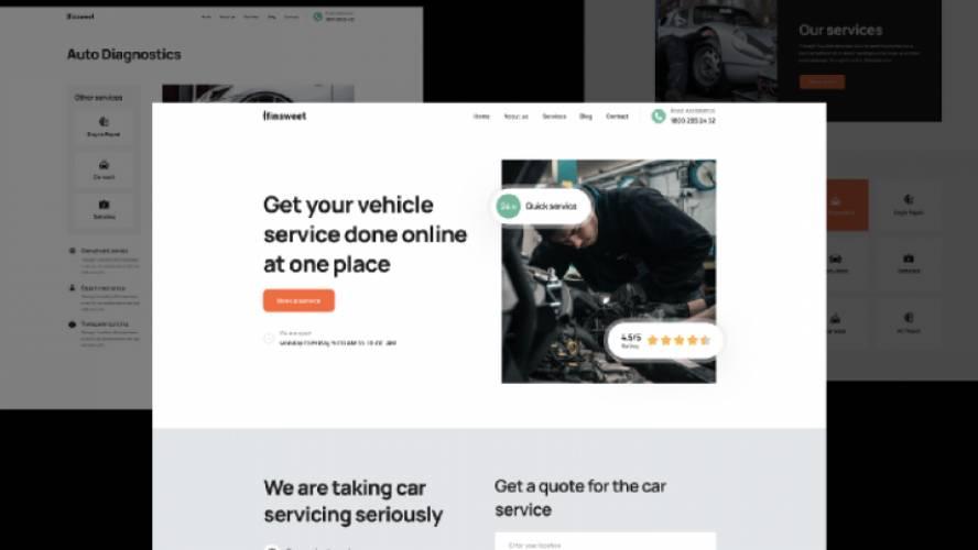 Figma Car Service Full Website Template