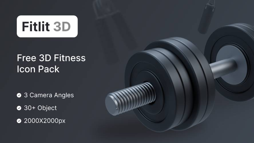 Figma Fitlit – Free Fitness 3D Icon Pack