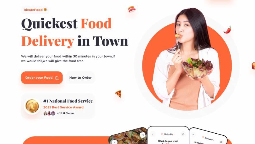Figma Food Landing page Free Download