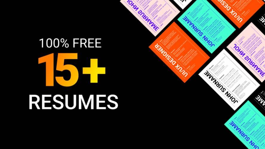 Figma Free 15+ Resume/CV Design Template