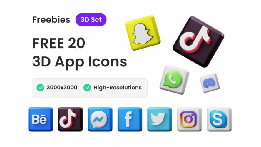 Figma Free 3D Social Media Icons