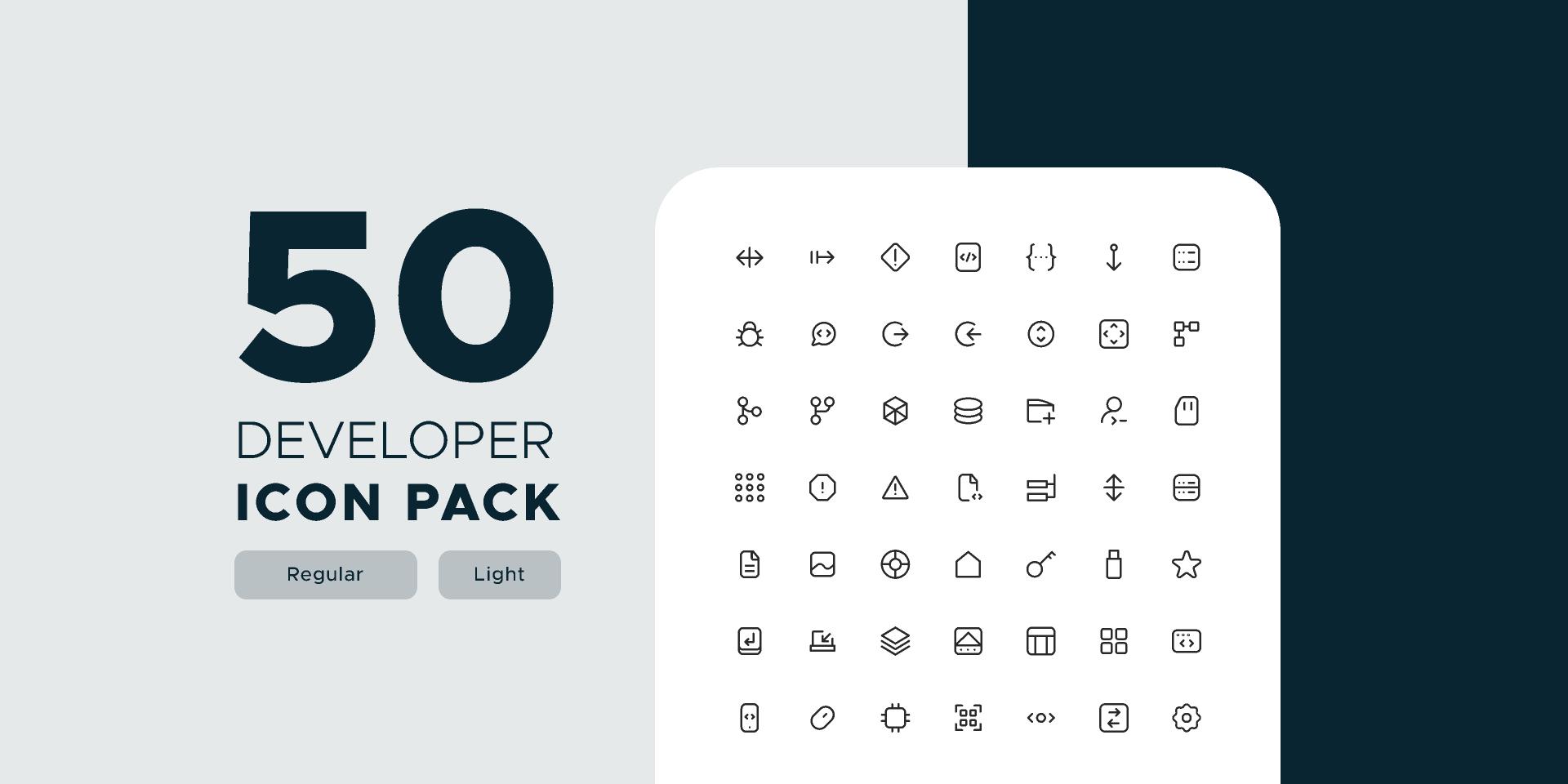 Figma Free 50 Developer Life Icon Pack