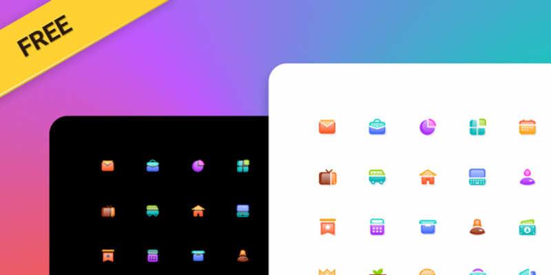 Figma Free Glass Icons Template