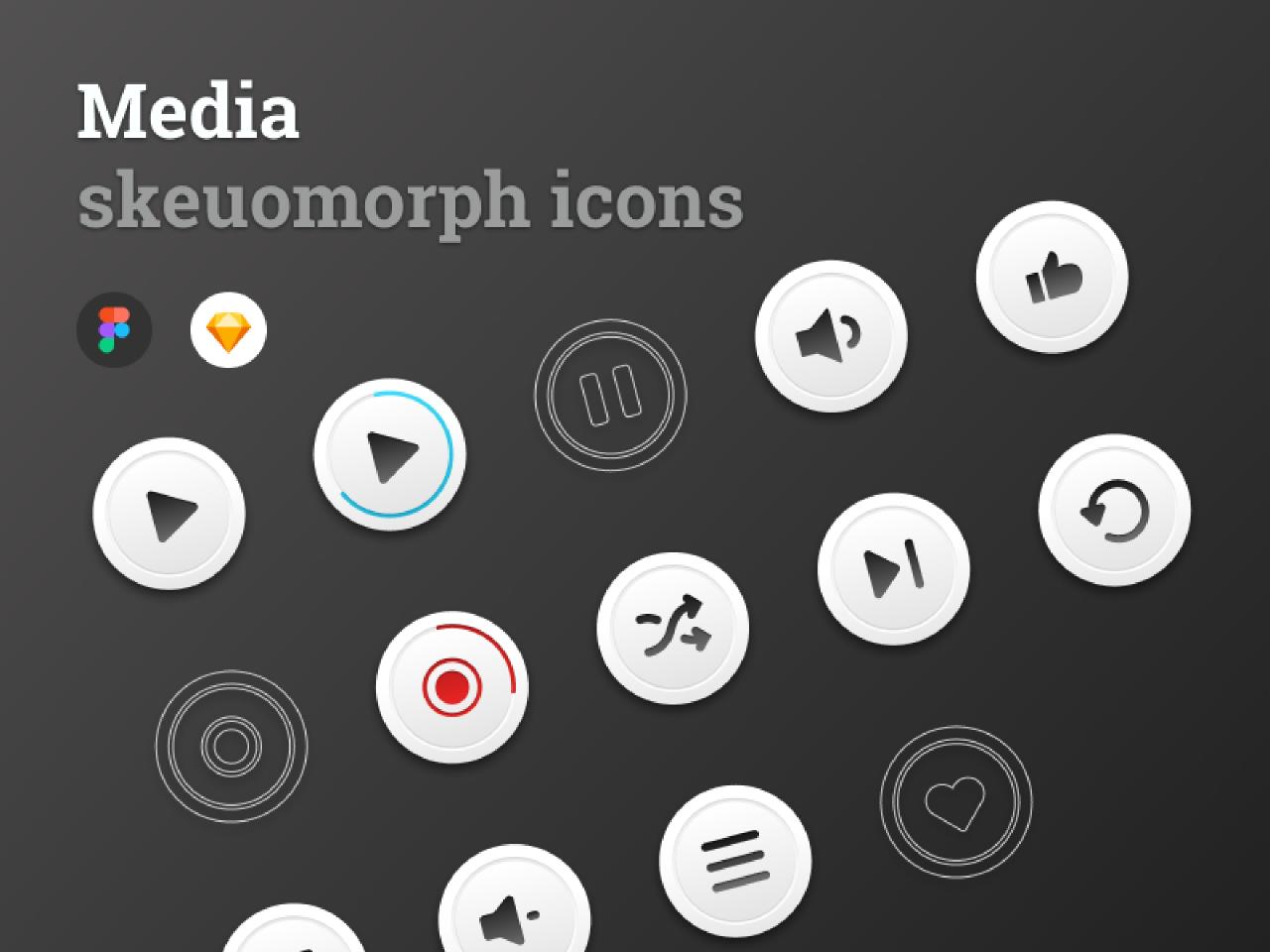 Figma free Media skeuomorph icons (Demo)