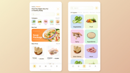 Figma Free Mobile apps Design (Grocery)