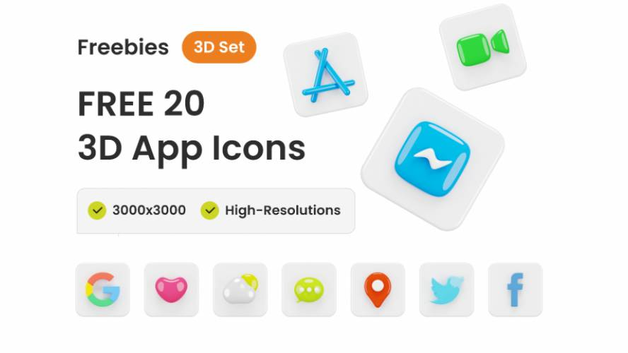 Figma Freebie 20+ 3D App Icon