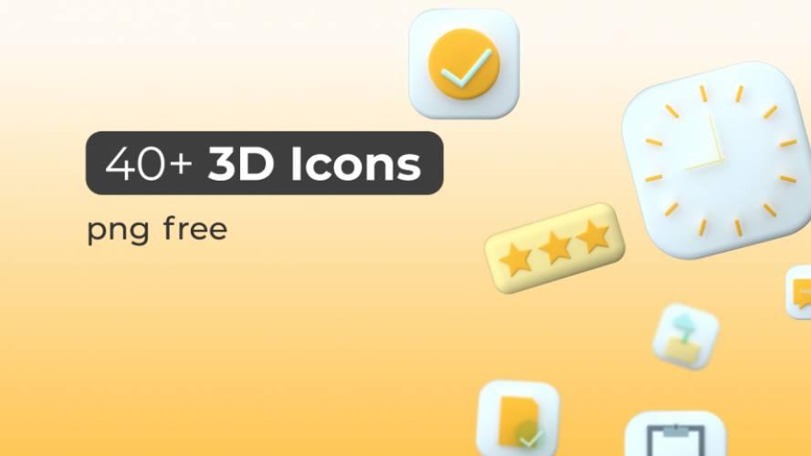 Figma Freebie 40+ 3D icons