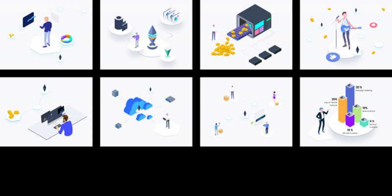 Figma Freebie Blockchain Isometric Graphic