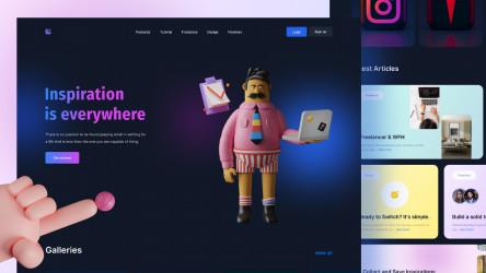 Figma Freebie Blog Landing Page Concept (Lunchpiration)