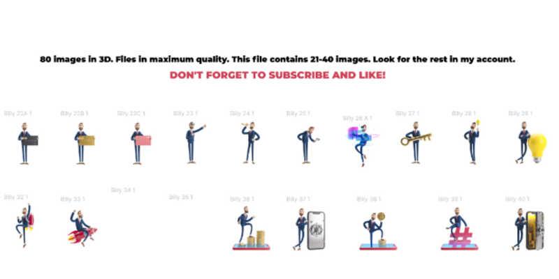 Figma freebie Businessman Billy 3D set2
