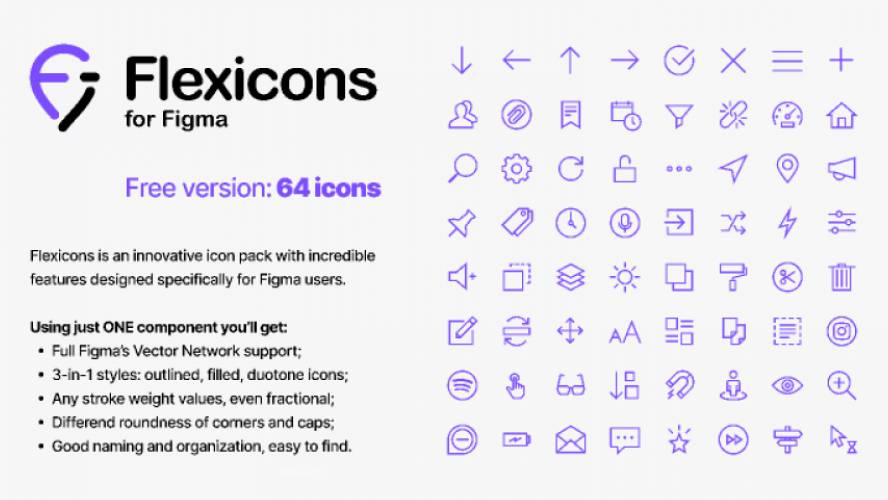 Figma freebie Flexicons FREE 64 icons