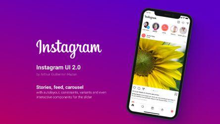 Figma freebie Instagram UI Mockup 2.0