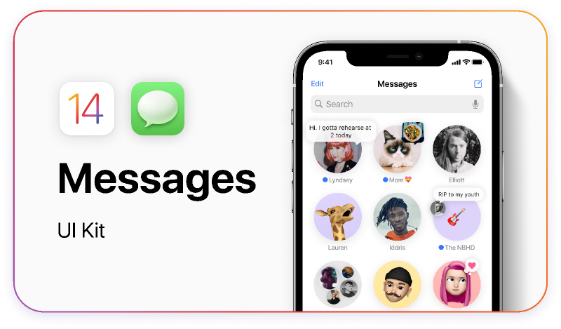 Figma freebie iOS 14 - iMessage UI Kit