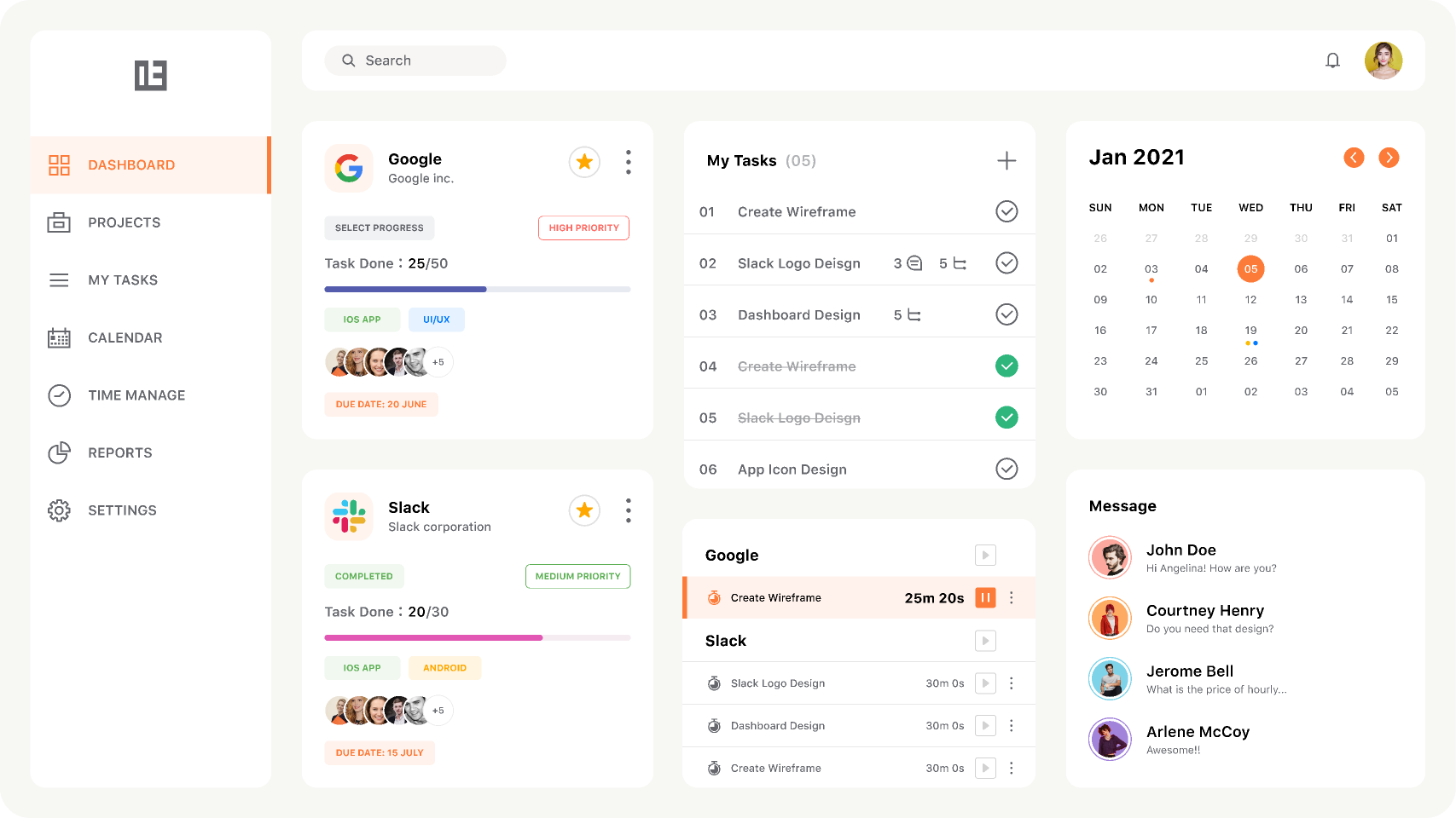 Figma freebie Task Management App Destop