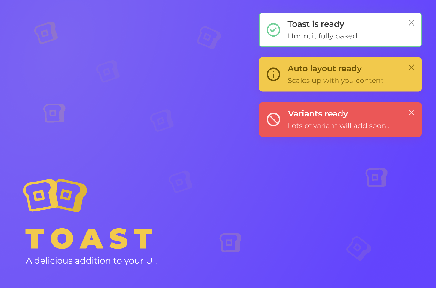 Figma freebie Toast- A delicious addition to your UI