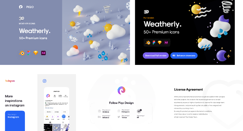 Figma Freebie Weatherly 3D Icons - Demo version