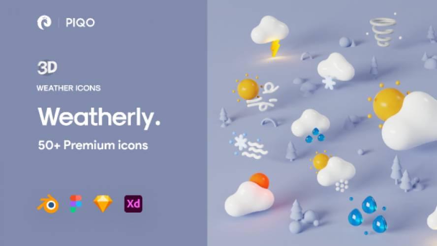 Figma Freebie Weatherly 3D Icons - Demo version
