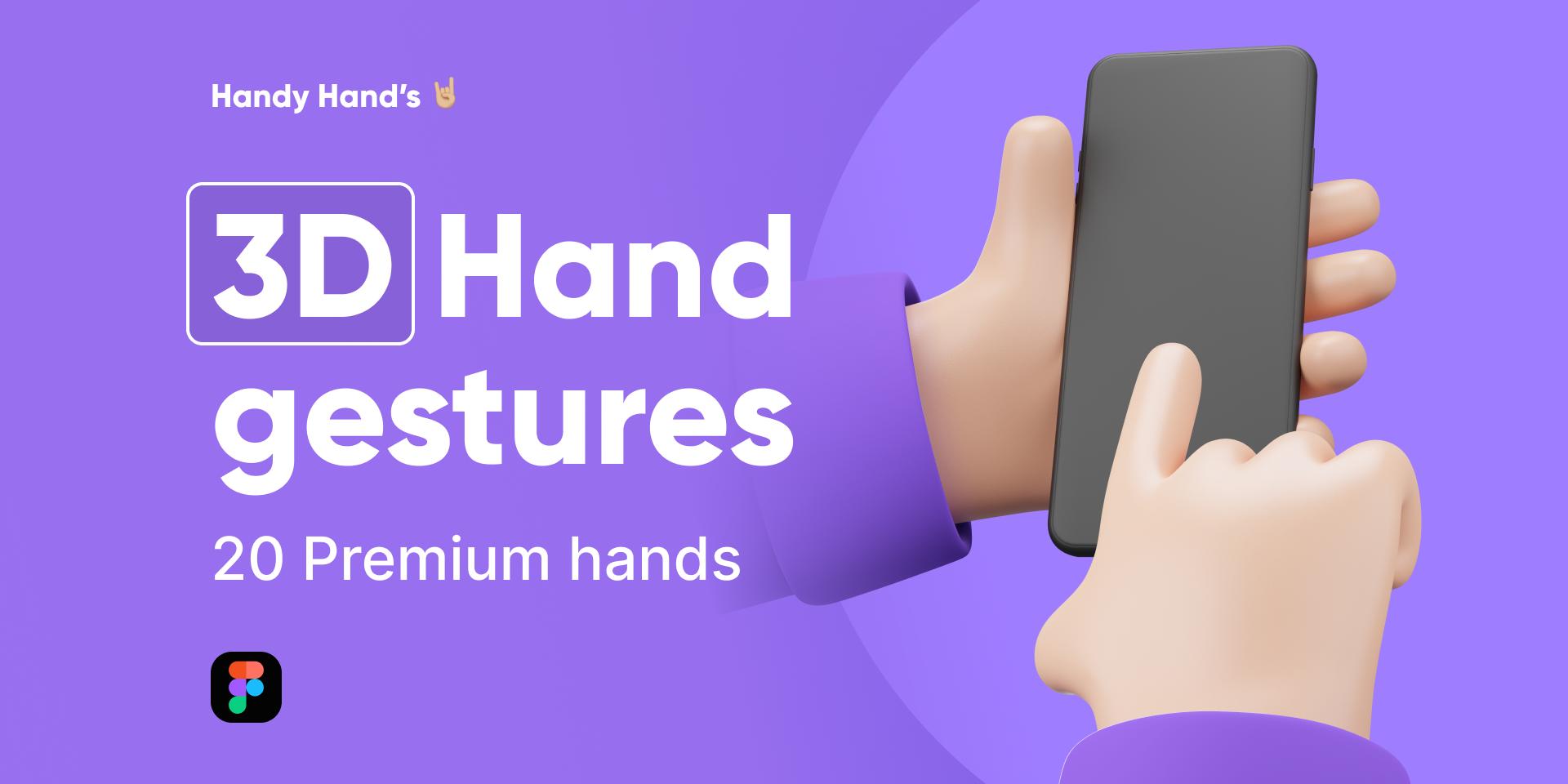 Figma FreebieHandy Hand's (3D)