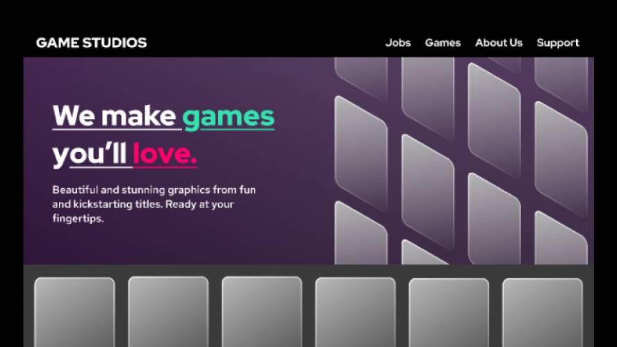 Figma Game Studio Website Design UI