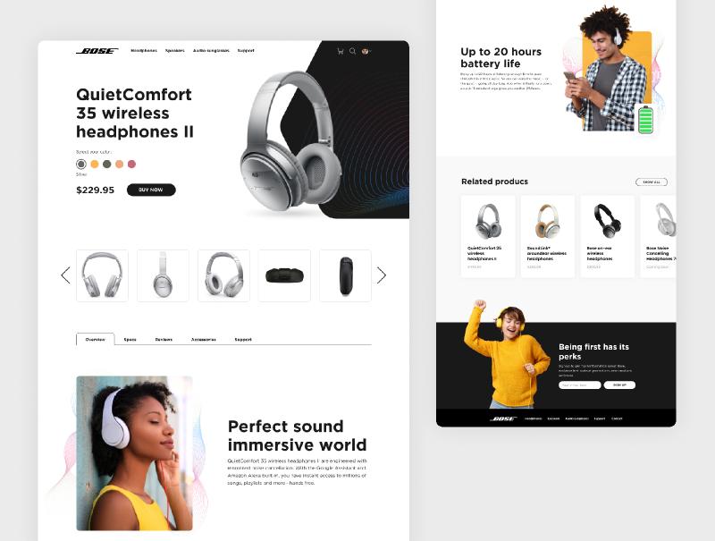 Figma Headphones website and mobile app