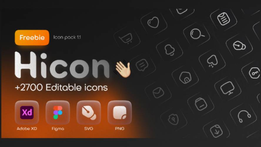 Figma Hicon Free icon pack (2700+ icons)